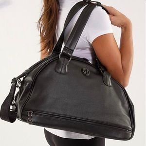 Lululemon Black Leather Duffel Bag